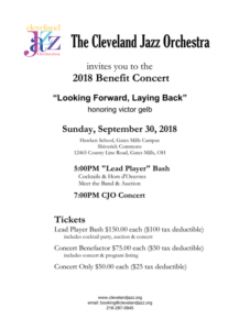 """Cleveland Jazz Orchestra Annual Benefit """"Looking F..."""
