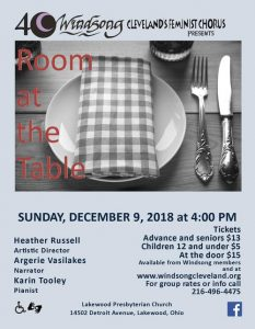 "Winter 2018 concert, ""Room At The Table"""